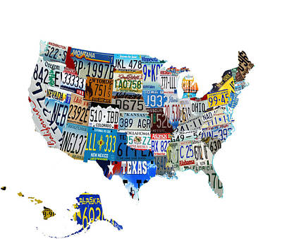 Usa License Plates Map 4p Poster