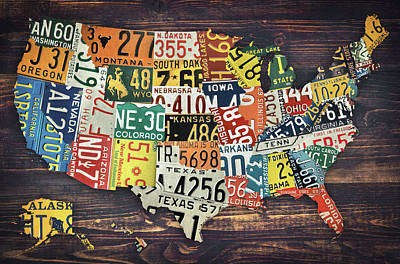Usa License Plates Map Poster