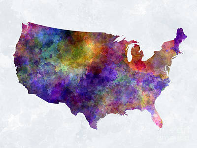 Usa Map In Watercolor  Poster by Pablo Romero