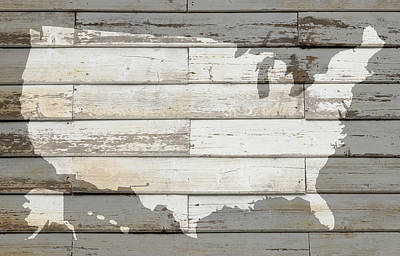 Usa Map Of America Outline On White Barn Wood Planks Poster