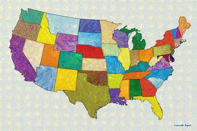 Usa Map - Pa Poster by Leonardo Digenio