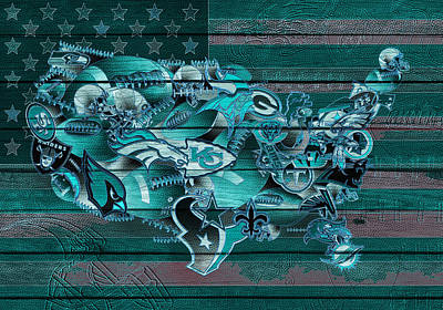 Usa Nfl Map Collage 3 Poster by Bekim Art