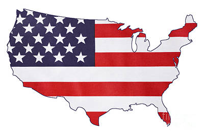 Usa Stars And Stripes Flag Within Outline Of Usa Map. Poster
