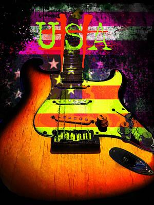 Usa Strat Guitar Music Poster