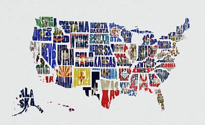 Usa Typography Map Flag Poster