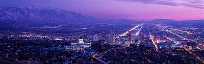Usa, Utah, Salt Lake City, Aerial, Night Poster by Panoramic Images