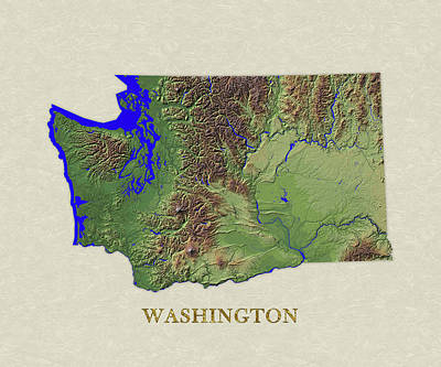Usgs Map Of Washington Poster