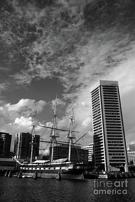 Uss Constellation And Inner Harbor In Monochrome Baltimore Poster
