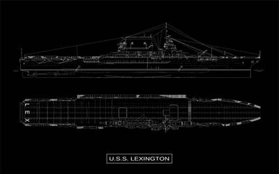 Uss Lexington Poster by DB Artist