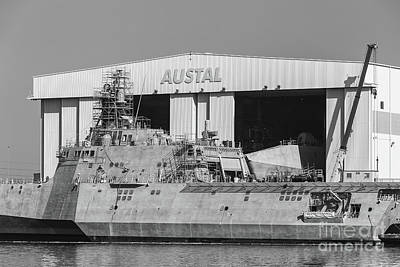 Uss Manchester At Austal Shipyard Iv Poster by Clarence Holmes