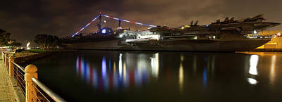 Poster featuring the photograph Uss Midway At Night by Nathan Rupert