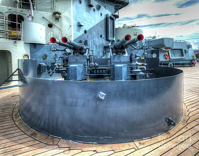 Uss North Carolina, Bb 55, 40mm Guns Poster