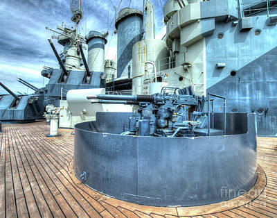 Uss North Carolina, Bb 55, 5-inch And 40mm Guns Poster