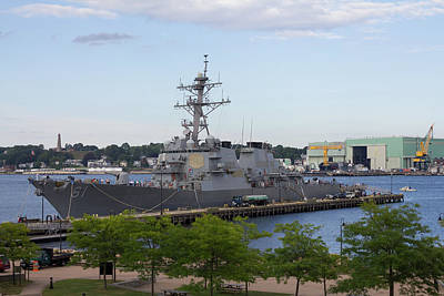 Poster featuring the photograph Uss Ramage In New London by Kirkodd Photography Of New England
