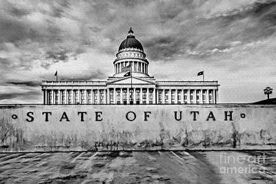 Utah Capitol Black And White Poster