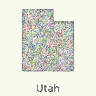 Utah Line Art Map Poster by David Zydd