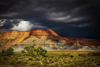 Utah Mountain With Storm Clouds Poster by John A Rodriguez