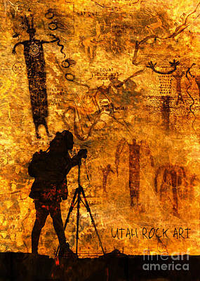 Poster featuring the photograph Utah Rock Art Montage by Marianne Jensen