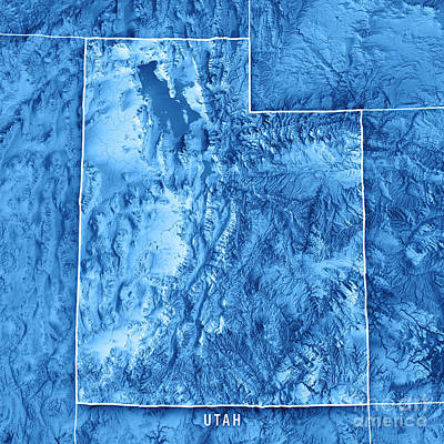 Utah State Usa 3d Render Topographic Map Blue Border Poster