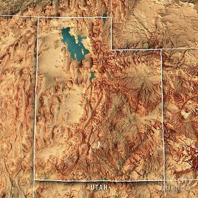 Utah State Usa 3d Render Topographic Map Border Poster