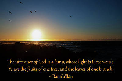 Utterance Of God A Lamp Poster by Baha'i Writings As Art