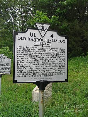 Va-ul4 Old Randolph-macon College Poster