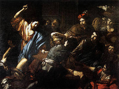 Valentin De Boulogne Christ Driving The Money Changers Out Of The Temple Poster by Valentin De Boulogne
