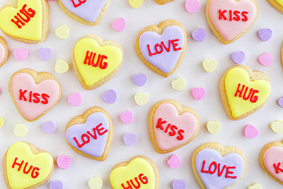 Poster featuring the photograph Valentine Heart Cookies by Teri Virbickis