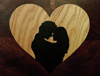 Valentine Love Heart Of Wood Poster by Andulino