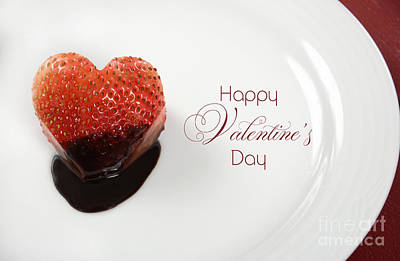 Valentines Day Heart Shape Red Strawberry Dipped In Dark Chocolate Poster by Milleflore Images