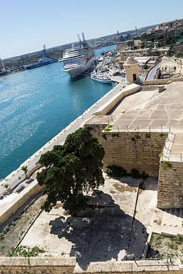 Valletta Grand Harbor - High Noon Shadows And Cruise Ships Poster by Georgia Mizuleva