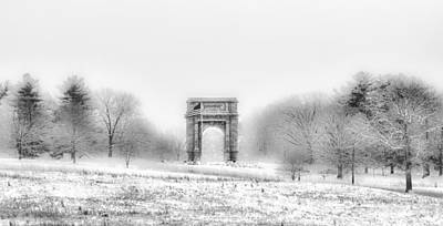 Valley Forge Arch In Black And White - Winter Scene  Poster by Bill Cannon