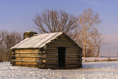 Valley Forge Cabin At Sunset Poster