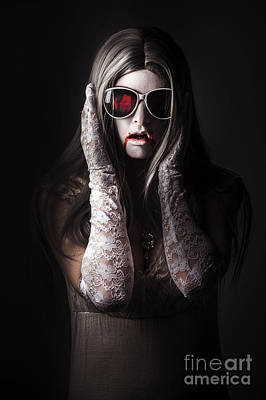 Vampire Woman In Darkness Hiding From The Light Poster by Jorgo Photography - Wall Art Gallery