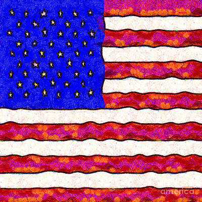 Van Gogh.s Starry American Flag . Square Poster by Wingsdomain Art and Photography