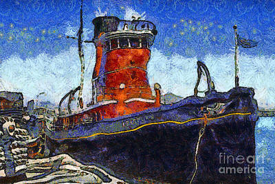Van Gogh.s Tugboat . 7d14141 Poster by Wingsdomain Art and Photography