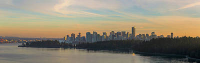 Vancouver Bc Skyline Along Stanley Park At Sunset Poster