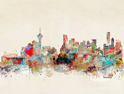 Poster featuring the painting Vancouver City Skyline by Bri B