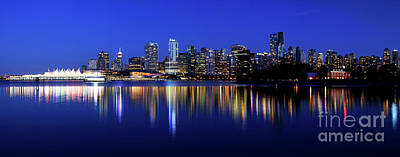 Vancouver City Skyline Panorama At Dusk Poster