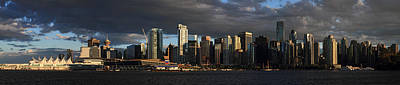 Vancouver City Sunset Panorama From Stanley Park Poster by Pierre Leclerc Photography