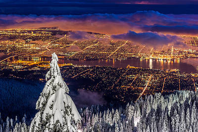 Vancouver City Twilight From Grouse Mountain Poster by Pierre Leclerc Photography