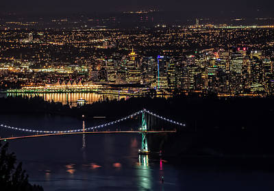 Vancouver Night From Cypress Mountain Poster