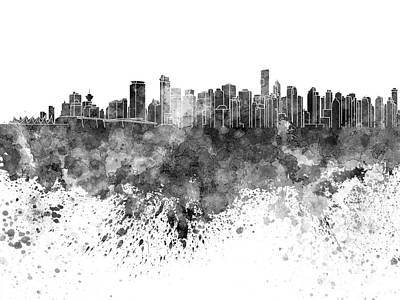 Vancouver Skyline In Black Watercolor On White Background Poster