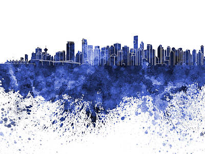 Vancouver Skyline In Blue Watercolor On White Background Poster