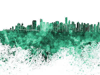 Vancouver Skyline In Green Watercolor On White Background Poster