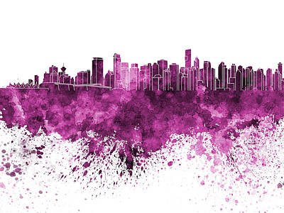 Vancouver Skyline In Pink Watercolor On White Background Poster