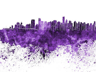 Vancouver Skyline In Purple Watercolor On White Background Poster