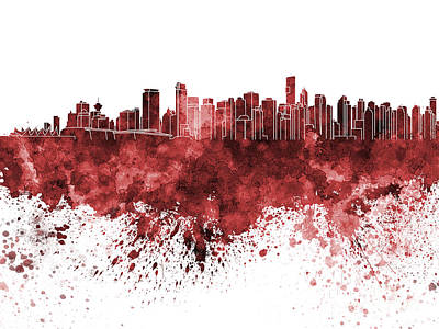 Vancouver Skyline In Red Watercolor On White Background Poster