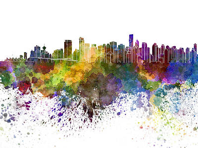 Vancouver Skyline In Watercolor On White Background Poster