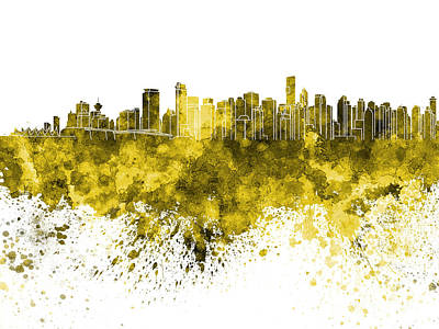 Vancouver Skyline In Yellow Watercolor On White Background Poster